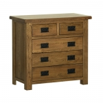 Rustic Oak Small 2 over 3 Chest of Drawers