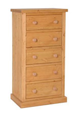Chunky Pine 5 drawer wellington chest of drawers