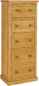 Chunky Pine 5 drawer wellington jumper chest of drawers