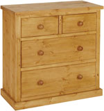 Chunky Pine 2 over 2 jumper chest of drawers