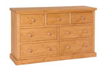Chunky Pine 3 over 4 chest of drawers