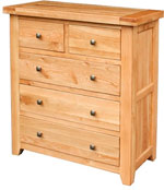 Chunky Oak 2 over 3 Chest of Drawers