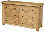 Chunky Oak 6 Drawer Wide Chest
