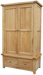 Chunky Oak Gents Wardrobe with 2 Drawers