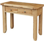 Chunky Oak 2 Drawer Console Table