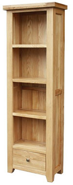 Chunky Oak Tall Bookcase with Drawer