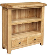 Chunky Oak low bookcase with drawers