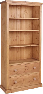 Chunky Pine 6  bookcase with drawers
