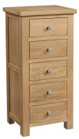 Dorset Oak 5 Drawer Wellington Chest