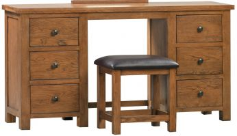 Dorset Oak Rustic Double Pedestal Dressing Table with Stool