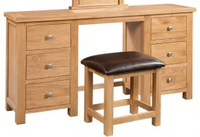 Dorset Oak Twin Pedestal Dressing Table with Stool
