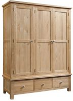 Dorset Oak Triple Wardrobe with Drawers