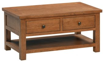 Dorset Oak Rustic Coffee Table with 2 Drawers
