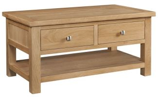 Dorset Oak Coffee Table with Drawers and Shelf