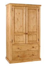 Chunky Pine 2 drawer wardrobe