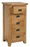 Hereford Oak 5 Drawer Tall Slim Chest