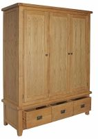 Thumbnail Hereford Oak Triple Wardrobe with Drawers