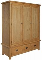 Hereford Oak Triple Wardrobe with Drawers