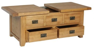 Thumbnail Hereford Oak Large Storage Coffee Table with Drawers