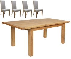 Thumbnail Hereford Oak Extending Table with 4 Fabric Chairs