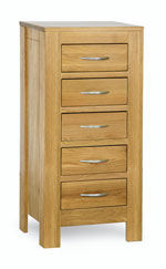 Milano Oak 5 Drawer Slim Chest of Drawers