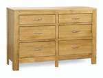Milano Oak 6 drawer Double Chest of drawers