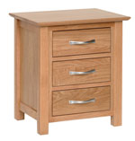 New Oak 3 drawer bedside