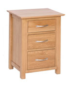New Oak 3 drawer high bedside
