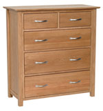 New Oak 2 over 3 chest of drawers