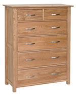 New Oak 2 over 4 chest of drawers
