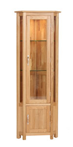 New Oak corner glazed display cabinet