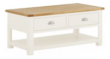 Northport White Coffee Table with Drawers