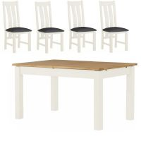 Thumbnail Northport White 1.4 m Extending Table with 4 Chairs