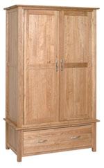 New Oak gents wardrobe with 1 drawer