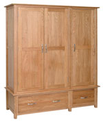 New Oak triple wardrobe with drawers