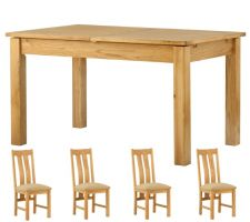 Northport Oak 1.4 m Extending Table with 4 Chairs