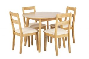 York Oak Round Table   4 Low Chairs