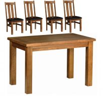 Rustic Oak 1.2 Table with 4 Rustic Arizona Chairs