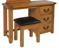 Suffolk Oak single pedestal dressing table With Stool