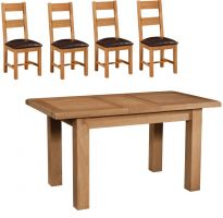 Thumbnail Suffolk Oak 1.2 m Extending Table with 4 Ladder Back Chairs