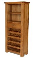Windsor Oak Tall Wine Rack with Drawer