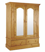 Welland Pine 2 Door Wardrobe with Mirror and drawers