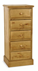 Welland Pine 5 Drawer Slim Chest of Drawers