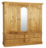 Welland Pine Triple Wardrobe with Mirror and drawers