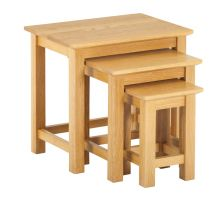 York Oak Nest of 3 Tables