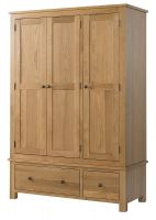 Burford Oak Triple Wardrobe with Drawers