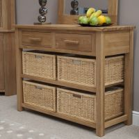 Opus Oak Hall Table with Baskets
