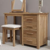 Opus Oak Single Pedestal Dressing Table   Stool