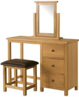 Burford Oak Dressing Table  Stool   Mirror