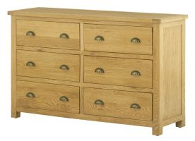 Northport Oak 6 Drawer Wide Chest of Drawers